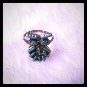 Vintage native American Sterling turquoise owl rin
